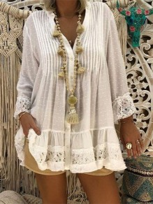 White Lace Buttons V-neck Long Sleeve Boho Hippie Cheesecloth Tunics Blouse