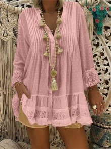 Pink Patchwork Lace Buttons V-neck Fashion Blouse