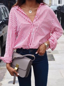 Wine Red Striped Pockets Buttons Single Breasted Turndown Collar Long Sleeve Fashion Blouse
