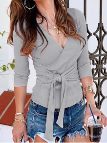 Grey Sashes Belt Wrap Solid V-Neck Long Sleeve Casual Fashion Blouses