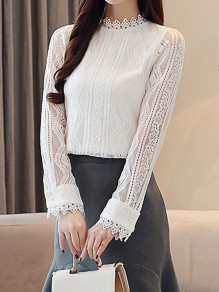 White Cut Out Lace Band Collar Long Sleeve Elegant Blouse