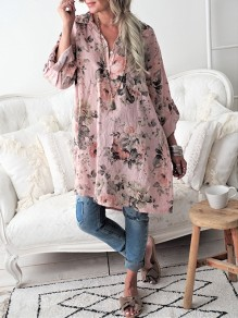 Pink Floral Buttons V-neck Fashion Blouse