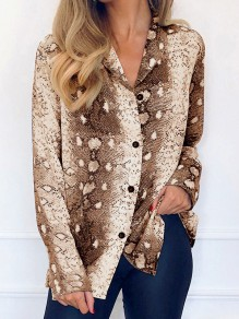 Brown Snake Skin Print Single Breasted Chiffon Long Sleeve Fashion Blouse