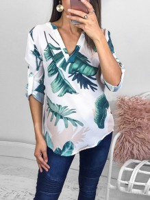 White Palm Leaf Print Buttons V-neck Long Sleeve Fashion Blouse