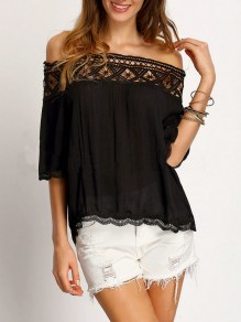 Black Patchwork Lace Draped Chiffon Boat Neck Elbow Sleeve Going out Blouse