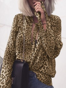 Apricot Leopard Print Lace-up Round Neck Long Sleeve Fashion Blouse