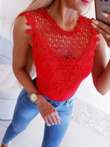 Red Patchwork Lace Cut Out Round Neck Sleeveless Blouse