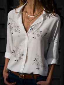 White Floral Print Single Breasted Turndown Collar Long Sleeve Fashion Blouse
