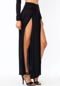 All Black Irregular Double Slit Floor Length Sexy Fashion Beach Maxi Skirt