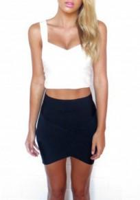Falda liso irregulares elástico de cintura alta negro