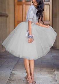 Grey Plain Grenadine Pleated Elastic Waist Fashion Skirt