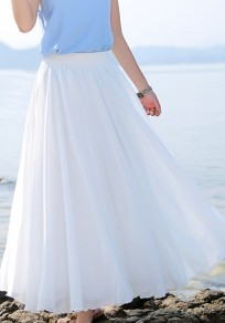 White Pleated Comfy Chiffon Boho Elastic Waist Flowy Long Skirt