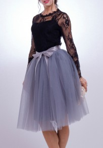 Grey Grenadine Bow Belt Tutu Fluffy Puffy Tulle High Waisted Homecoming Party Cute Skirt