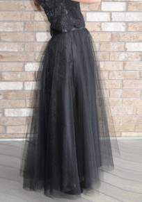 Black Grenadine Pleated Oversize Tulle Tutu High Waisted Skirt
