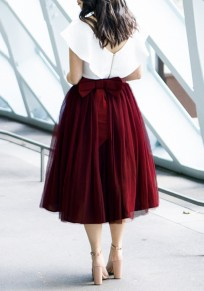 Burgundy Grenadine Bow Pleated Tulle Tutu High Waisted Homecoming Party Sweet Skirt