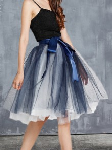 Navy Blue Grenadine Pleated Bow Sashes Tulle Tutu High Waisted cute Homecoming Skirt