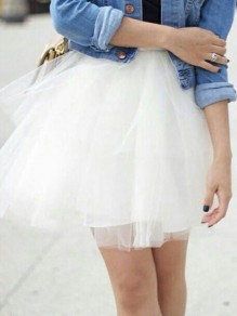 White Patchwork Grenadine Pleated Plus Size Fluffy Puffy Tulle Cute Skirt