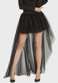 Black Grenadine Draped Swallowtail Tutu High Waisted Sweet Party Skirt