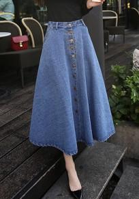 Hellblau Taschen Drapiert Einreiher A-Line Ausgestellter Hohe Taille Lange Maxirock Jeansrock Abendrock