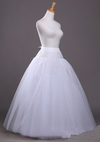 White Pleated Grenadine Drawstring Fluffy Puffy Tulle Bridesmaid Elegant Party Skirt