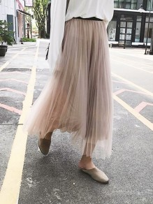 Apricot Pleated Grenadine High Waisted Homecoming Party Sweet Skirt