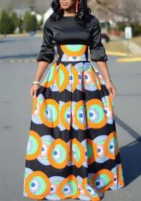 Falda estampado floral tribal fiesta africana plisada de talle alto naranja