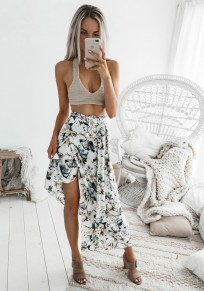 White Floral Cut Out Ribbons Fashion Skirt