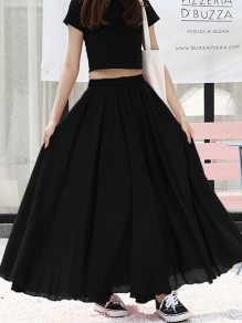 Black Draped Big Swing Flowy High Waisted Elegant Bohemian Skirt