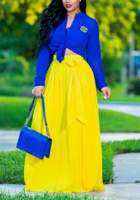 Yellow Pleated Sashes Ruched Flowy High Waisted Bohemian Beachwear Party Skirt