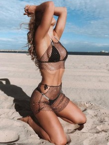 Black Rhinestone Cut Out High Waisted Fishnet Bikini Cover Up Glitter Clubwear Skirt