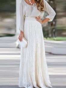 White Patchwork Lace Draped High Waisted Elegant Skirt