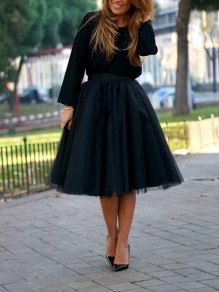 Black Grenadine High Waisted Fashion Tulle Tutu Skirt