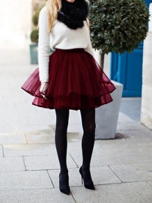 Burgundy Plain Pleated Tiered Ribbon Lining The Edge Party Tulle Chiffon Adorable Tutu Mini Skir