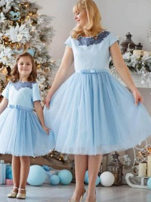 Light Blue Grenadine Pleated High Waisted Tulle Tutu Homecoming Party Cute Elegant Skirt