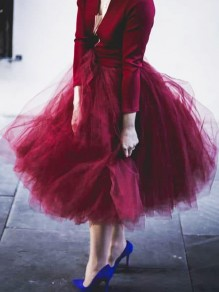 Wine Red Grenadine Pleated High Waisted Elegant Fluffy Tutu Skirt