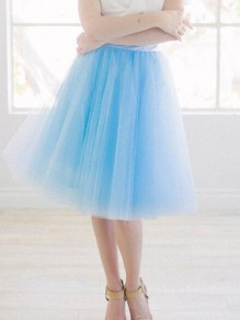 Sky Blue Grenadine Pleated High Waisted Tulle Tutu Homecoming Party Cute Elegant Skirt
