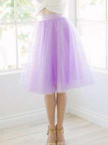 Light Purple Grenadine Pleated High Waisted Tulle Tutu Homecoming Party Cute Elegant Skirt