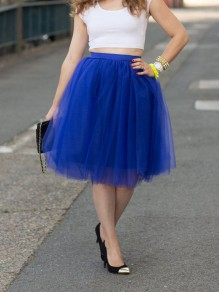 Royal Blue Patchwork Grenadine Pleated Plus Size High Waisted Tutu Cute Homecoming Party Midi Skirt