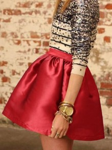 Red Pleated High Waisted Tutu Cute Homecoming Party Skirt