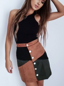 Brown Patchwork Single Breasted Mid-rise Casual Skirt