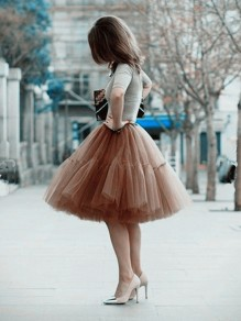 Brown Grenadine Pleated Fluffy Puffy Tulle Tutu High Waisted Cute Homecoming Party Skirt