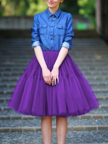 Purple Draped Pleated Grenadine High Waisted Elegant Skirt