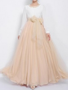 Apricot Draped Pleated Grenadine Bow High Waisted Elegant Skirt