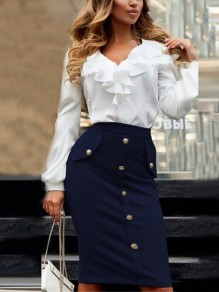 Dark Blue Single Breasted Buttons Ladies High Waisted Elegant Skirt