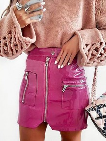 Pink Pockets Zipper vinyl Patent Latex Buckles Sparkly Elastic Waist Skirt