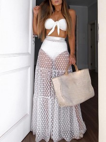 White Polka Dot Grenadine Pleated High Waisted Fashion Beach Maxi Skirt