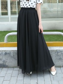 Black Patchwork Pleated High Waisted Fashion Chiffon Long Skirt