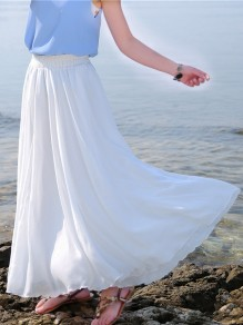 White Patchwork Pleated High Waisted Fashion Chiffon Long Skirt