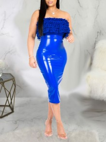 Blauer PU Leder Latex Bubble Vinly Party Langer Rock mit hoher Taille