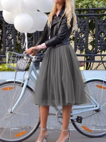 Light Grey Grenadine Fluffy Puffy Tulle High Waisted Party Skirt